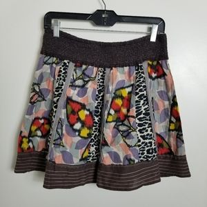 Free People Skirt Multi Mixed Collaged Prints